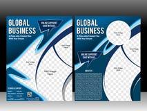 企业飞行物&杂志布局设计模板 免版税库存照片