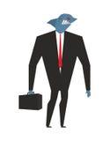 企业鲨鱼 与迎浪掠食性动物的商人 pred的罪恶 免版税图库摄影