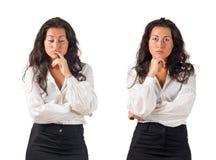 企业黑暗的怀疑头发的妇女年轻人 免版税库存照片