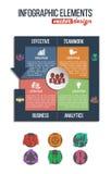 企业&财务infographics设置了与在圆形统计图表传染媒介例证的联合象 免版税库存照片