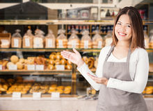 企业主有面包店商店背景 免版税库存图片