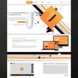企业介绍的网站模板与抽象设计 也corel凹道例证向量 免版税库存照片