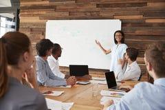给企业介绍的年轻黑人妇女在whiteboard 免版税库存图片