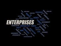 企业-词云彩wordcloud -从全球化、经济和政策环境的期限 向量例证