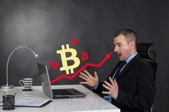 企业Bitcoin成长箭头图  免版税图库摄影