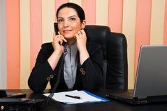 企业coversation电话妇女 免版税图库摄影