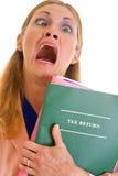 企业doin沮丧的妇女 免版税库存图片