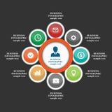 企业infographic元素,圆形统计图表,事务跨步,平的设计 皇族释放例证