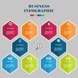 企业infographic六角形 皇族释放例证