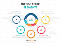 企业Infographic时间安排过程模板,五颜六色的横幅 图库摄影