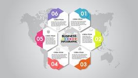 企业infographics传染媒介例证与6个选择的组织系统图 小册子的模板,事务,网络设计,六角形 皇族释放例证