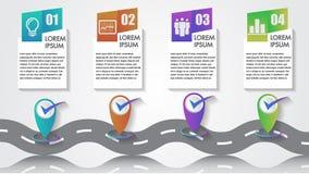企业Infographics传染媒介象数字公司里程碑时间安排4步与尖的模板拷贝空间在一条弯曲的路 皇族释放例证