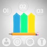 企业Infographics传染媒介例证 能为工作流布局,横幅,图,数字选择使用,提高选择,网 库存图片