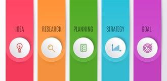 企业Infographics图 与5步的时间安排 导航infographic元素的例证想法的,研究 向量例证