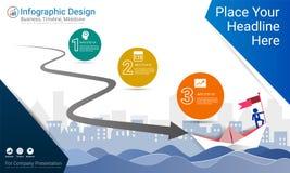 企业infographics模板、里程碑时间安排或者路线图与处理流程图3选择 免版税库存图片