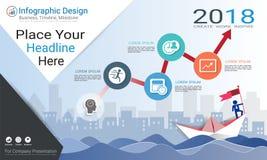 企业infographics模板、里程碑时间安排或者路线图与处理流程图4选择 图库摄影