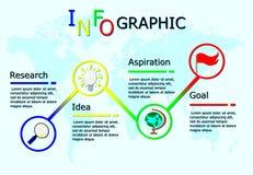 企业infographics,传染媒介线性infographic元素,工作流有全球性地图背景 皇族释放例证