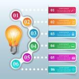 企业Infographics origami样式传染媒介例证 电灯泡集成电路 库存图片