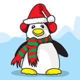 企鹅准备好在Cristmas时间 库存照片