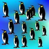 企鹅剪影无缝的样式 象查找的画笔活性炭被画的现有量例证以图例解释者做柔和的淡色彩对传统 免版税库存图片