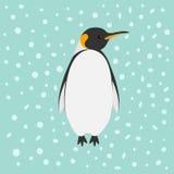 企鹅国王皇帝Aptenodytes Patagonicus雪在天空平的设计冬天南极洲背景中 免版税图库摄影