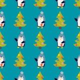 企鹅圣诞节传染媒介例证字符动画片无缝的样式动物南极洲极性额嘴杆冬天鸟 库存照片