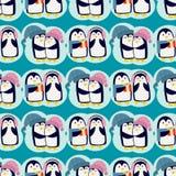 企鹅圣诞节传染媒介例证字符动画片无缝的样式动物南极洲极性额嘴杆冬天鸟 库存图片