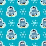 企鹅圣诞节传染媒介例证字符动画片无缝的样式动物南极洲极性额嘴杆冬天鸟 免版税图库摄影