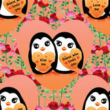 企鹅恋人梦想无缝的样式 库存照片