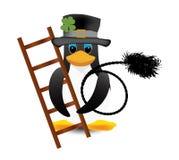 企鹅打扫 免版税库存图片