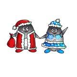 企鹅新年好 免版税库存照片