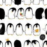 企鹅的无缝的样式 皇族释放例证