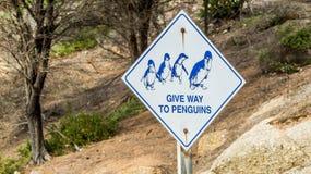 企鹅警告交通标志 免版税库存照片