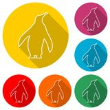 企鹅象,与长的阴影的颜色象 库存照片