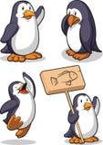 企鹅-愉快,哀伤,跳&拿着符号 免版税库存图片