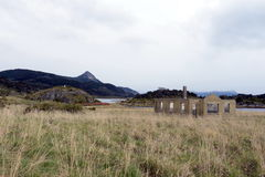 巴伊亚Wulaia是在Isla Navarino西部岸的一个海湾沿默里频道的在极端南智利 库存图片