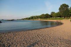 伊利湖的克利夫兰海岸在北美 免版税库存图片