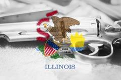伊利诺伊旗子U S 状态枪枝管制美国 团结的状态 免版税库存照片