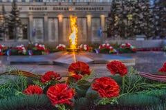 伊尔库次克纪念永恒火焰 免版税图库摄影
