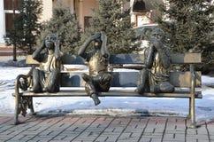 伊尔库次克,俄罗斯, 2017年3月, 04日 三只猴子`的雕塑什么都什么都什么都不看见,听见,说`,伊尔库次克 库存图片