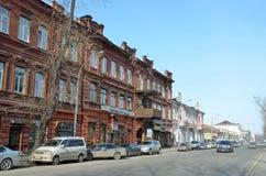 伊尔库次克,俄罗斯, 2017年3月, 16日 Cas在卡尔・马克思街道,房子37上 20世纪初的公寓在伊尔库次克 免版税图库摄影