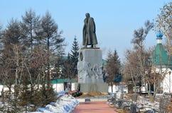 伊尔库次克,俄罗斯, 2017年3月, 09日 对亚历山大Vasilyevich Kolchak的纪念碑在伊尔库次克在早期的春天 库存照片