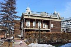 伊尔库次克,俄罗斯, 2017年3月, 16日 欧洲`历史和建筑复杂`议院,茶博物馆  12月ev街道  图库摄影