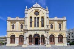 伊拉克利翁,克利特/希腊:贴水米纳斯大教堂是一个东正教大教堂 库存图片