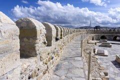 伊拉克利翁,克利特/希腊 堡垒Koules的屋顶视图在与多云天空的一个晴天 图库摄影