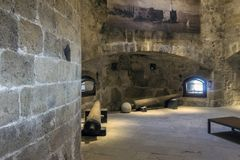 伊拉克利翁,克利特/希腊- 2017年10月26日:堡垒` Koules `的内部看法 库存图片