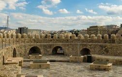 伊拉克利翁-2017年11月:Heraclion港口看法从老威尼斯式堡垒Koule,克利特的 库存照片