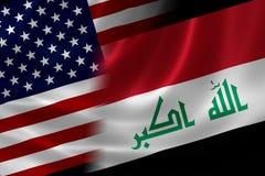 伊拉克和美国的被合并的旗子 库存图片