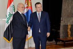伊拉克外长在正式访问的易卜拉欣博士Al Jaafari到共和国塞尔维亚 免版税库存图片