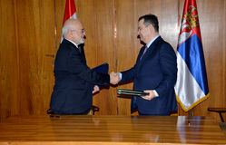 伊拉克外长在正式访问的易卜拉欣博士Al Jaafari到共和国塞尔维亚 免版税库存照片